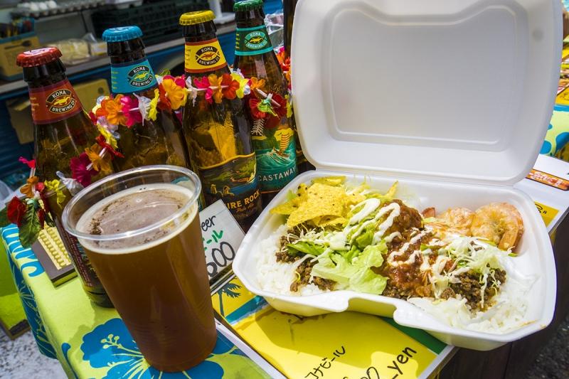 リゾート気分でタコライスにハワイのクラフトビール