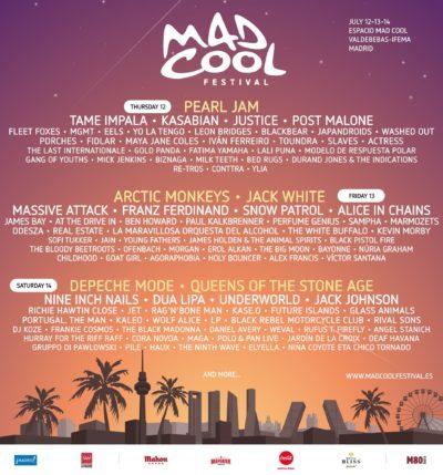 【海外フェス】スペイン「Mad Cool Festival」フルラインナップ発表で、Pearl Jam、Arctic Monkeys、Jack Whiteら