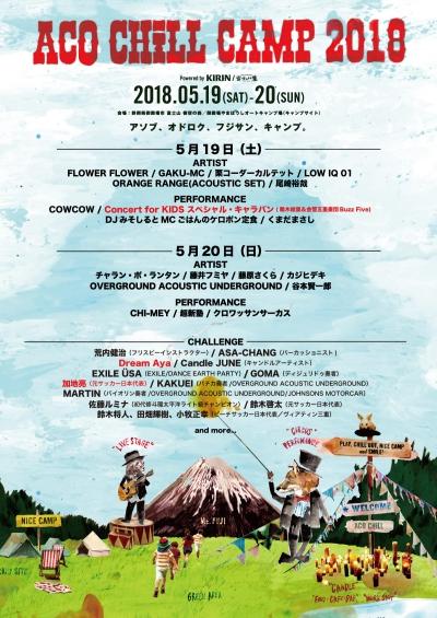 「ACO CHiLL CAMP 2018」日割り&第6弾発表でDream Ayaら出演決定