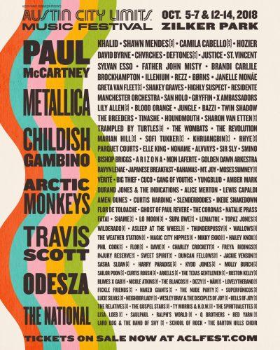 【海外フェス】「Austin City Limits Music Festival 2018」ポール、メタリカ、アクモンらラインナップ発表
