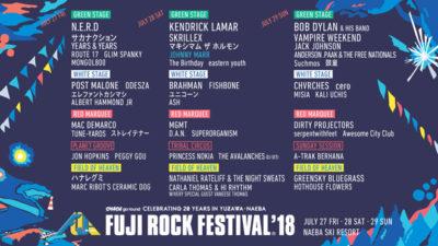 【FUJI ROCK FESTIVAL'18】フジロックタイムテーブル&ROOKIE A GO-GO出演者も含めた最終ラインナップ決定