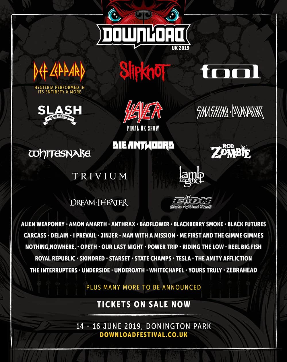 イギリス「Download Festival UK 2019」第2弾発表で、ゼブラヘッド、スレイヤー、日本からマンウィズの出演も決定