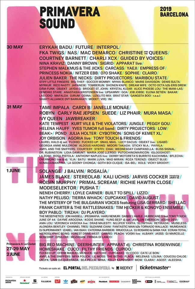 スペイン「Primavera Sound 2019」ラインナップ発表、日本から少年ナイフ、水カン、CHAIら出演決定