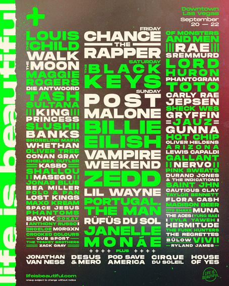 ラスベガス「LIFE IS BEAUTIFUL Music & Art Festival」ラインナップ発表で、Billie Eilish、Chance the Rapper、Post Maloneら出演決定