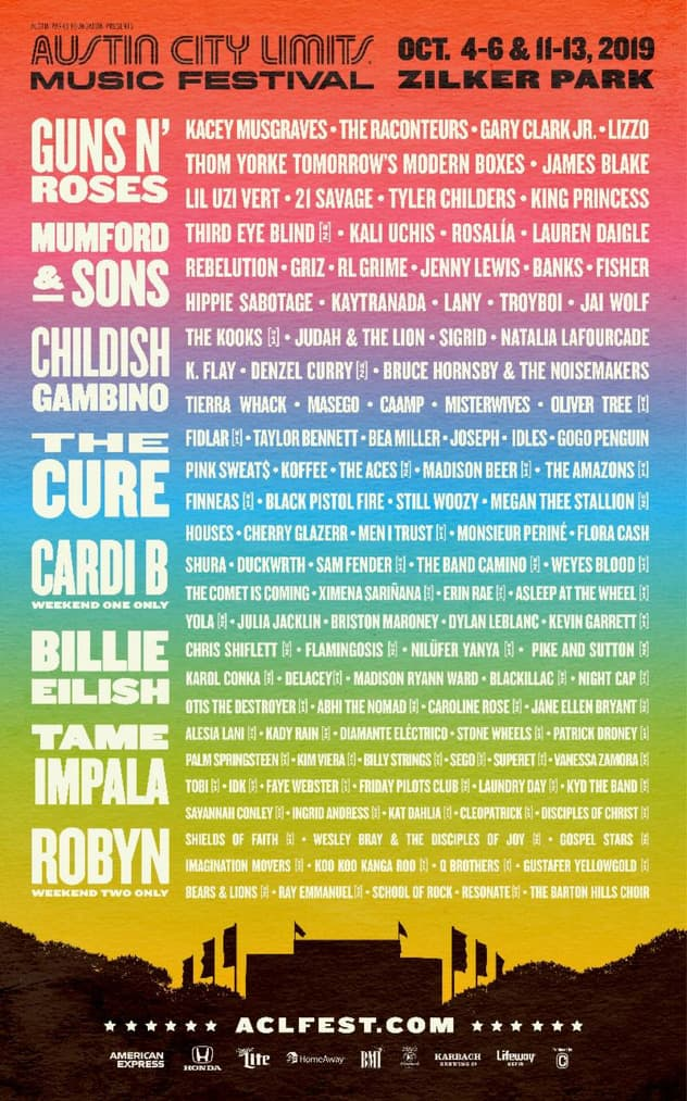 「Austin City Limits Music Festival 2019」ラインナップ発表で、Childish Gambino、Billie Eilish、Guns N' Rosesら決定