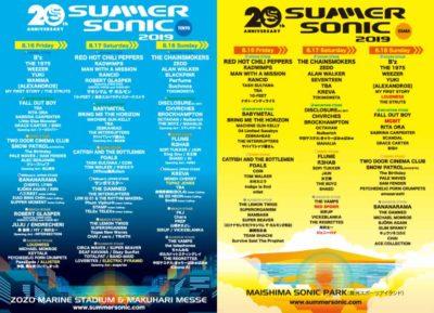 【SUMMER SONIC 2019】20周年サマソニステージ割&追加発表でMGMT、ジェニーハイ、LOUDNESSら7組追加